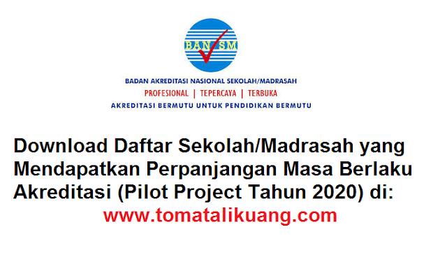 Download Daftar Sekolah/Madrasah yang Mendapatkan Perpanjangan Masa Berlaku Akreditasi; Pilot Project Tahun 2020; tomatalikuang.com