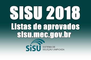 Sisu 2018: resultado com listas de aprovados