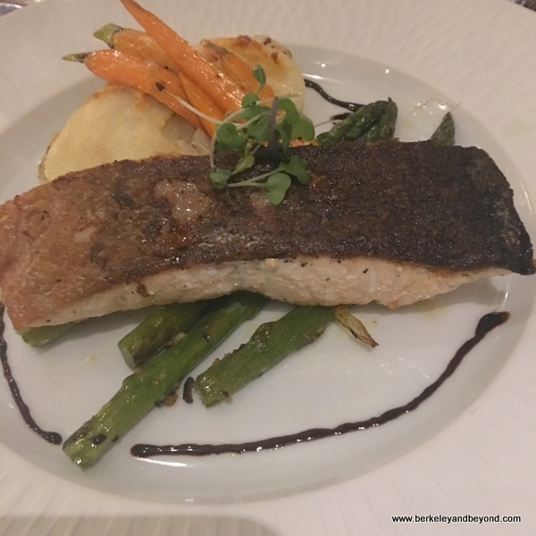 salmon dinner at The Clement Hotel in Palo Alto, California