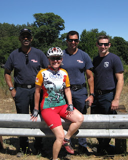 pep with three CalFire firemen