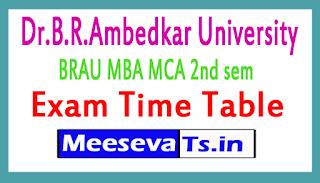 Dr.B.R.Ambedkar University BRAU MBA MCA 2nd sem Exam Time Table
