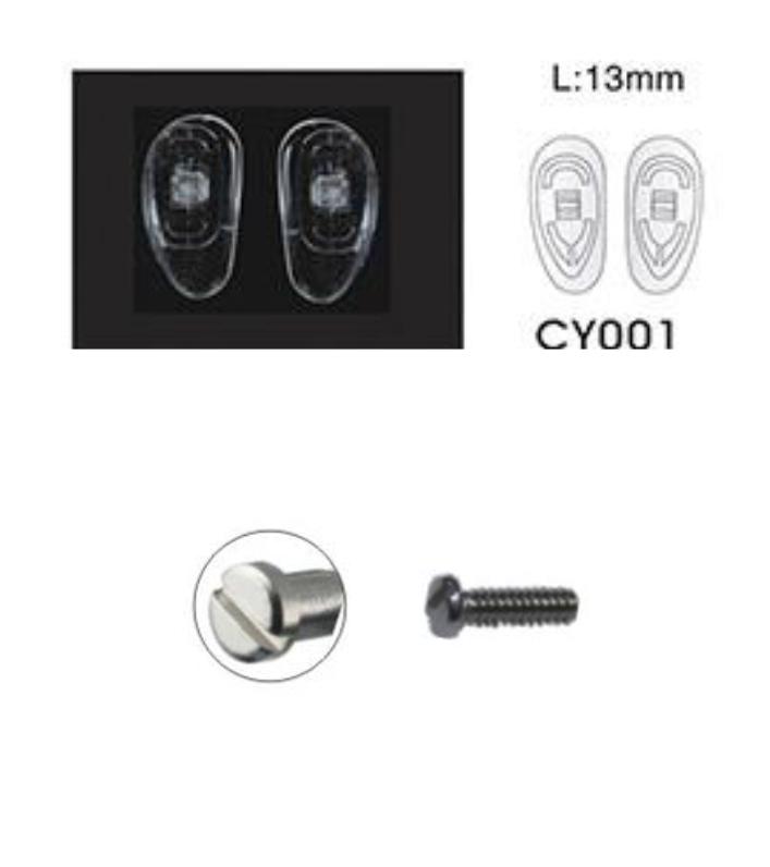 Plaquetas para lentes y tornillos silicone nose pad