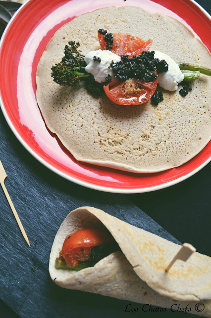 Burritos de avena con Bimi a la mediterranea