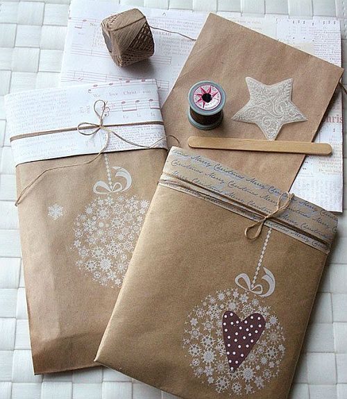 eco-friendly kraft paper wrapping with handemade decor