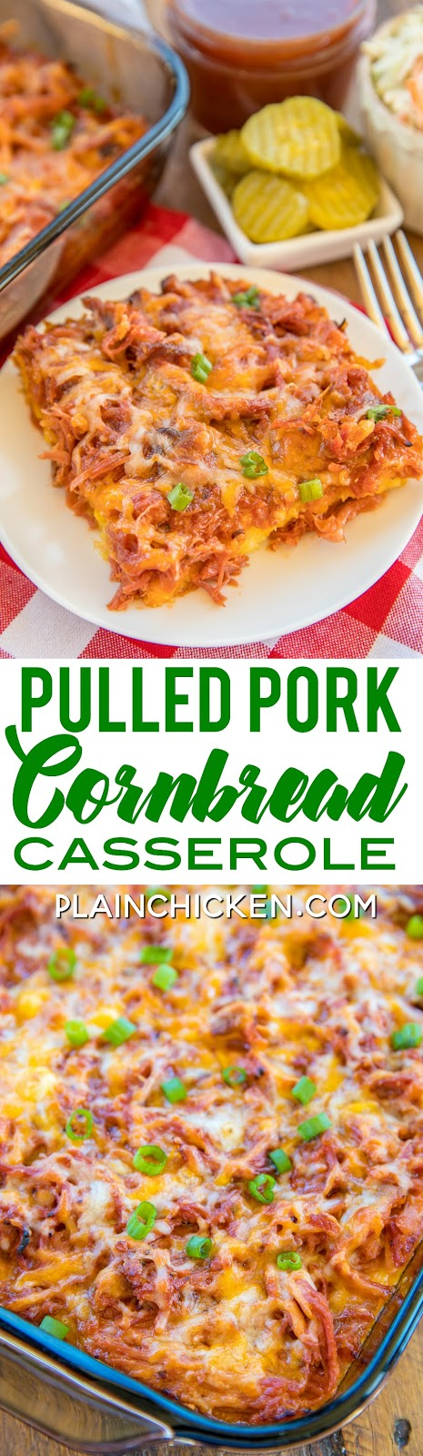 Pulled Pork Cornbread Casserole - sweet cornbread crust topped with pulled pork, BBQ sauce and cheese. Ready to eat in under an hour. Jiffy cornbread mix, creamed corn, eggs, cheddar cheese, milk, pulled pork, bbq sauce. SO easy and it tastes AMAZING! Everyone cleaned their plate and went back for seconds! Great way to use up any leftover pulled pork from your BBQ. #casserole #pork #BBQ