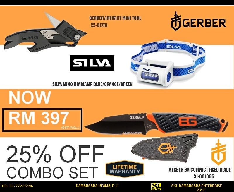 25%OFF retail price for Silva Mino Headlight, Gerber Artifact, BG Compact Fixed Blade Combo Set