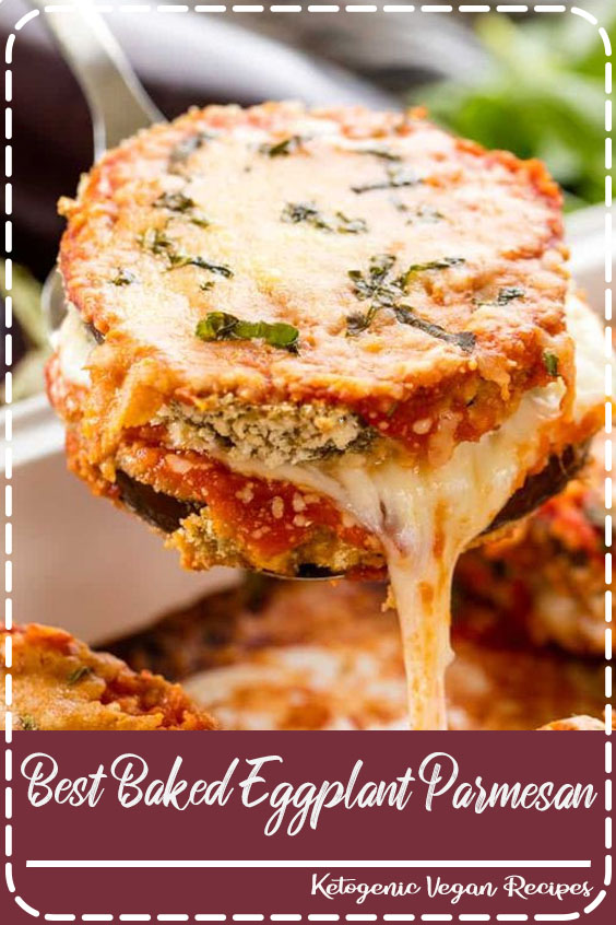 Delicious Baked Eggplant Parmesan with crispy coated eggplant slices smothered in cheese and marinara. #thestayathomechef #bakedeggplantparmesan #eggplantparmesan #eggplant #vegetarian