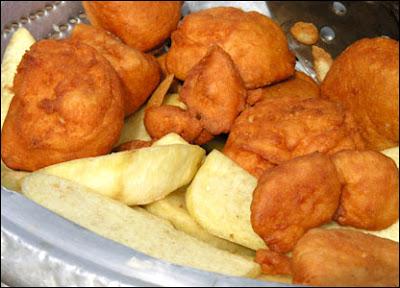 Fried yam and Akara