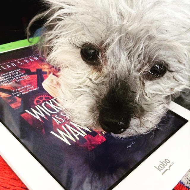 Murchie rests his chin on a white Kobo and stares straight into the camera. His face obscures most of the book cover on the Kobo's screen, but the title Wicked As She Wants is visible, superimposed over some large clockwork lit in red.