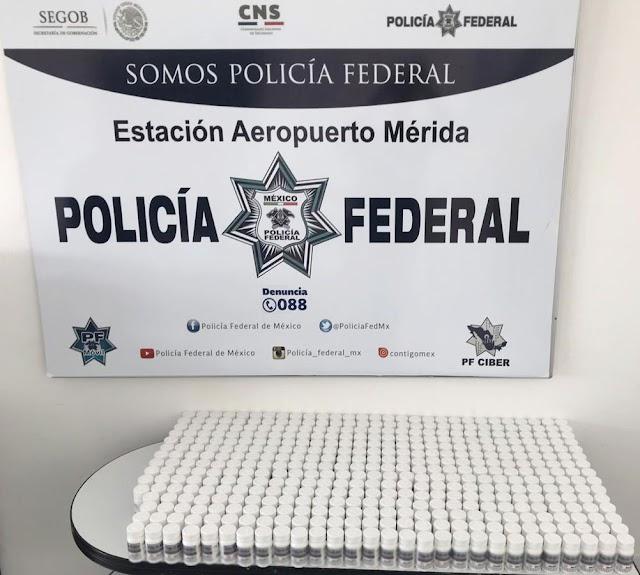 EN EL AEROPUERTO INTERNACIONAL DE MÉRIDA, POLICÍA FEDERAL ASEGURA MÁS DE 17 MIL PASTILLAS DE MEDICAMENTO CONTROLADO