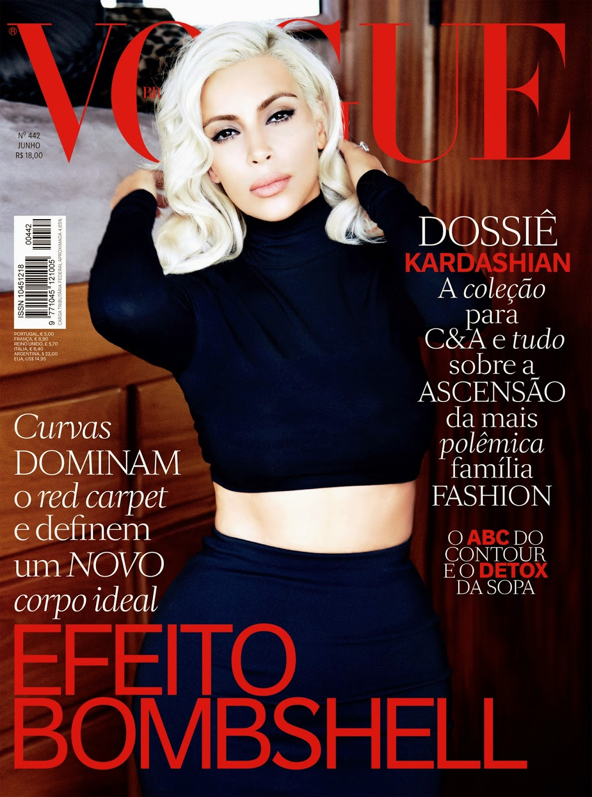 Kim Kardashian is curvy and glamorous for Vogue Brazil June 2015