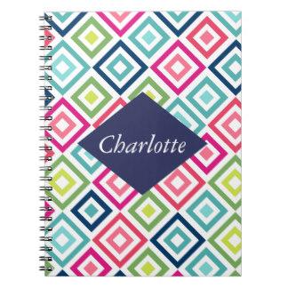 Notebook for Mom - Modern pink teal geometrical diamond monogram notebook