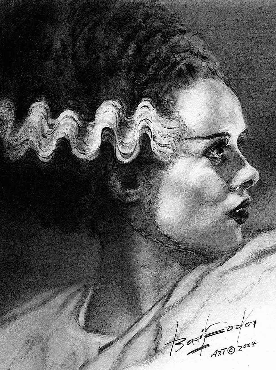 a Basil Gogos illustration of Elsa Lanchester as the Bride Of Frankenstein in 1935