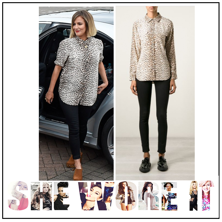 167ee9acec75e9 Brown, Button Up, Caroline Flack, Collared, Equipment, Leopard print, Long  ...