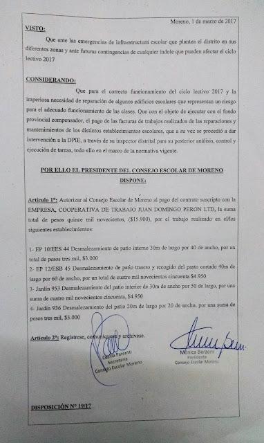 Disposición N° 19/17: Autorización de pago a la empresa Cooperativa de trabajo Juan Domingo Peron LTD por trabajos realizados en EP 10/EES 44, EP 12/ ESB 45, Jardin 953 y Jardin 936