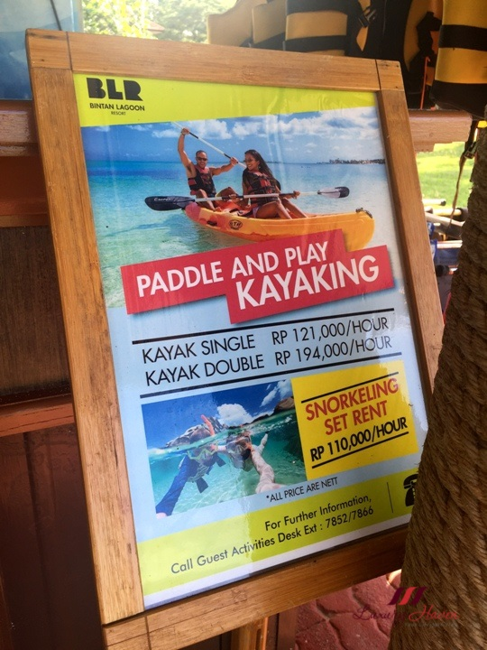 bintan lagoon resort kayak snorkeling prices