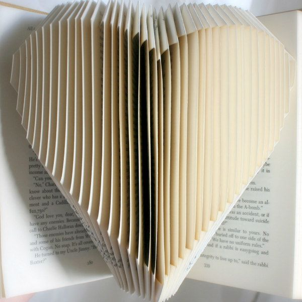 folded book heart sculpture