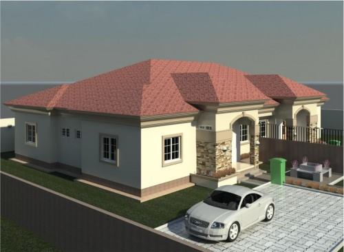 A twin 3bedoorm bungalow design plan all room en suite for Twin bungalow plans