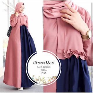Jual Baju Busana Muslim Dress Amina Maxi