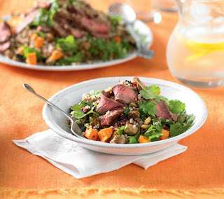 roasted eggplant, sweet potatoes and quinoa with beef recipe