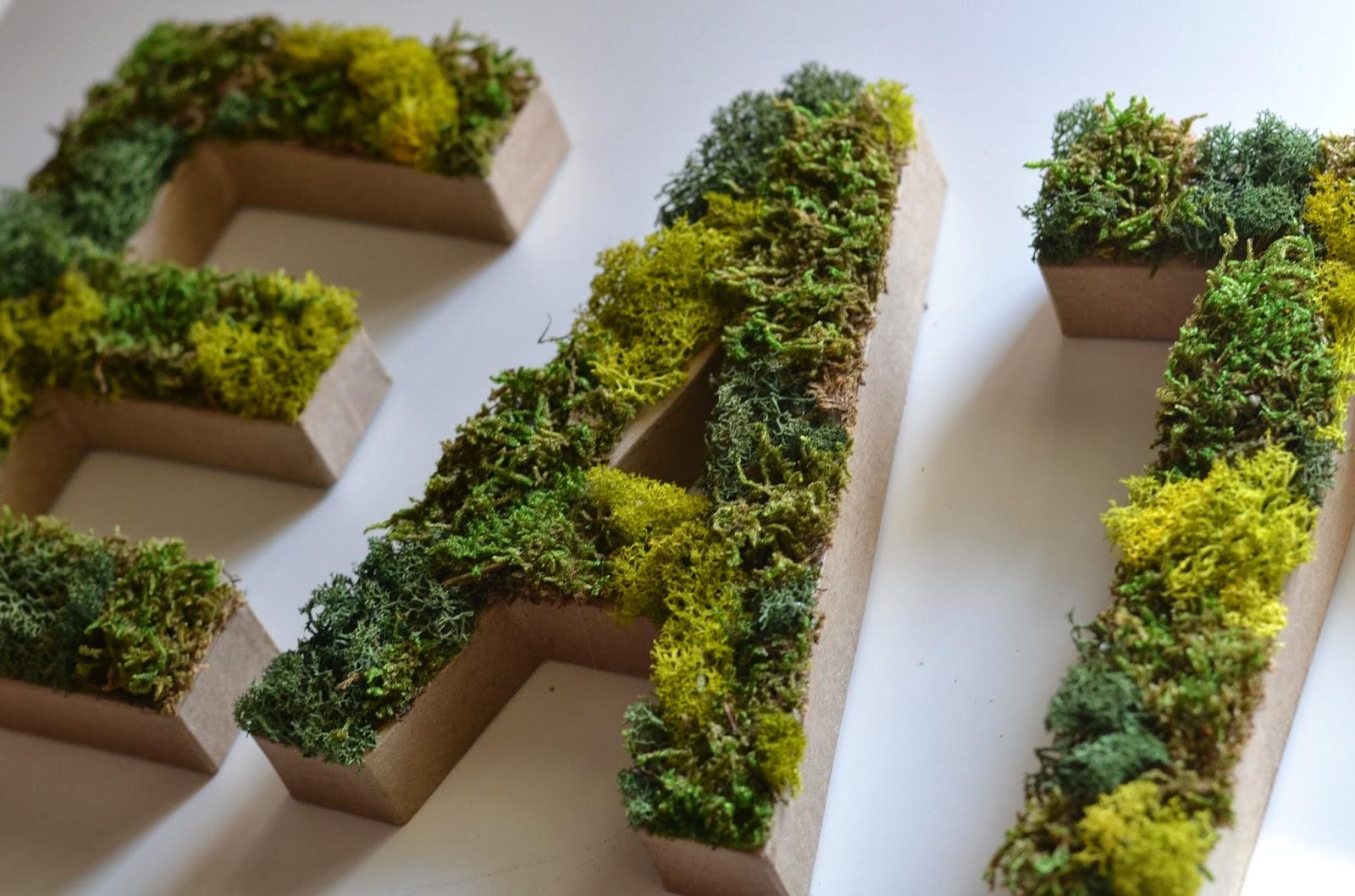 living in vogue diy moss letters. Black Bedroom Furniture Sets. Home Design Ideas