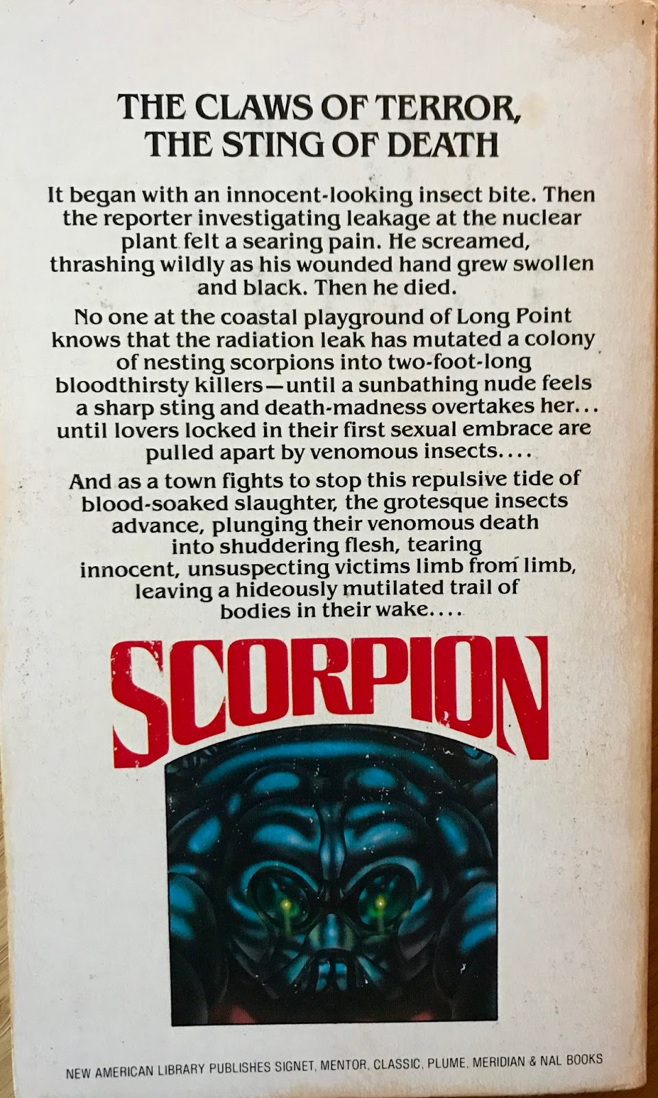 Too Much Horror Fiction Scorpion By Michael R Linaker 1980