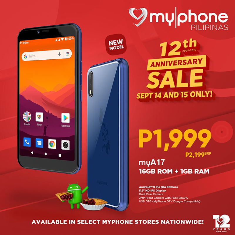 MyPhone releases myA17 with 1GB RAM, priced PHP 1,999 for a limited time