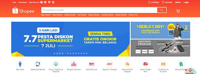 Aplikasi belanja online di Shopee
