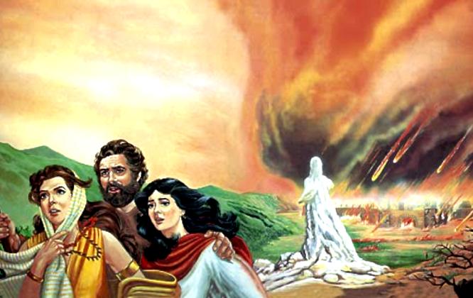 A imagem mostra uma representação de ló e suas duas filhas fugindo da ira de Deus em Sodoma, ao fundo vemos a esposa de Ló transformada em uma estátua de sal.