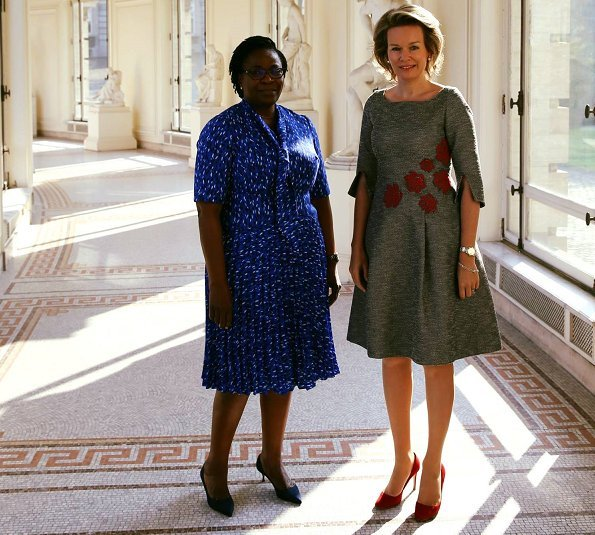 Queen Mathilde met with First Lady Claudine Gbènagnon Talon of the Republic of Benin at the Royal Palace in Brussels