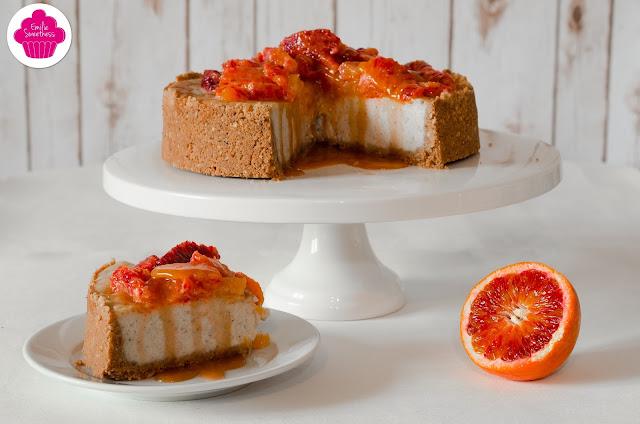 Cheesecake à la vanille avec des oranges sanguines et du caramel sur une base biscuitée aux noisettes - Bataille Food #33