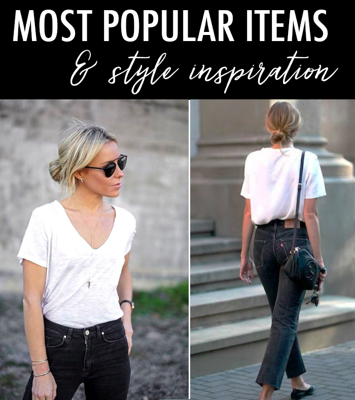 summer style outfit white tee grey jeans black flats aviator sunglasses