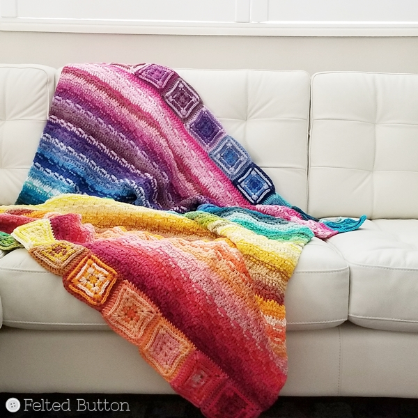 Every Bit a Blanket {free crochet pattern} by Felted Button using Scheepjes Cahlista Colour Pack