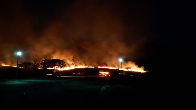 Fogo na região da Chapada Diamantina (Foto: Redes sociais)