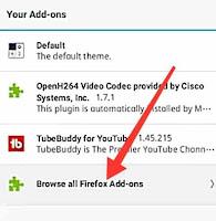 Firefox add-ons option