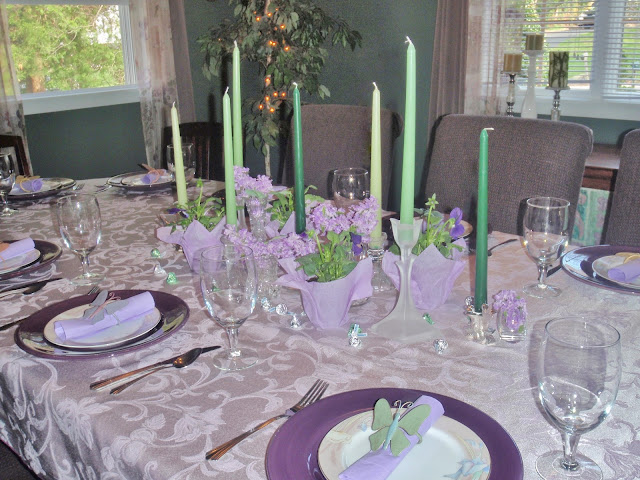 purple and green table setting