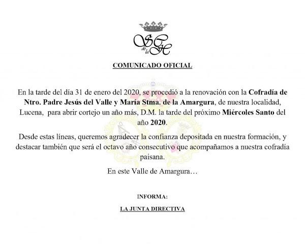 La Humillación de Lucena volverá a abrir el cortejo de la Cofradía del Valle de esta localidad
