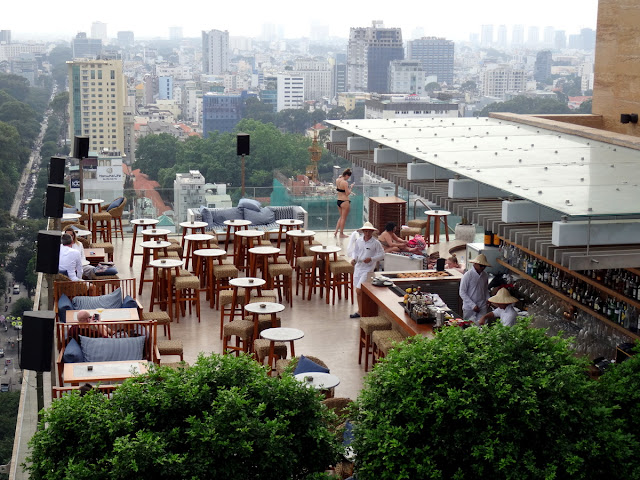 Rooftop bar and pool in Saigon