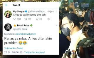 Kocak! Pendukung Jokowi Kepanasan Liat Anies Diteriaki Presiden oleh Massa Aksi