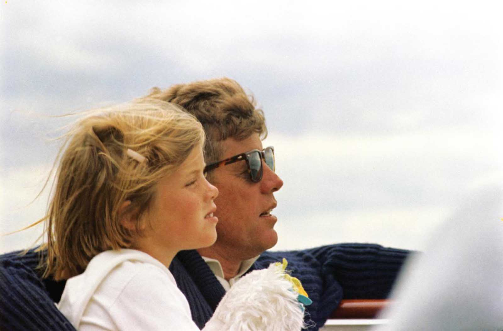 President Kennedy takes his daughter Caroline out for a spin in the Honey Fitz, off Hyannis Port in August of 1963.