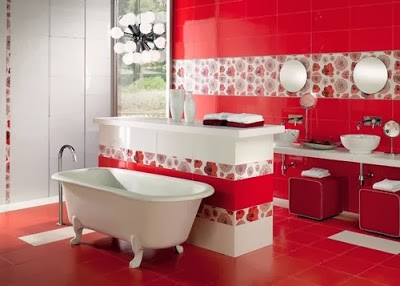 cuarto baño rojo blanco
