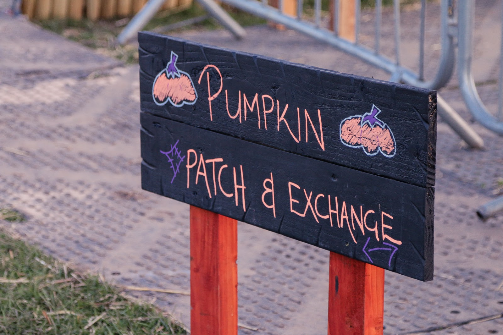 "Close up photo of the sign for the Pumpkin patch at M&D's pumpkin festival - A slate sign with ""Pumpkin patch"" written on it."