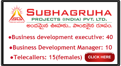 Subha Gruha Projects Ltd Hyderabad Recruitment for Various jobs