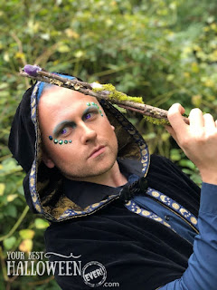 wizard with nature wand, wizard makeup with shimmer and crystals