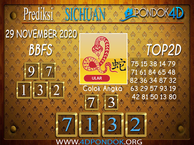 Prediksi Togel SICHUAN PONDOK4D 29 NOVEMBER 2020