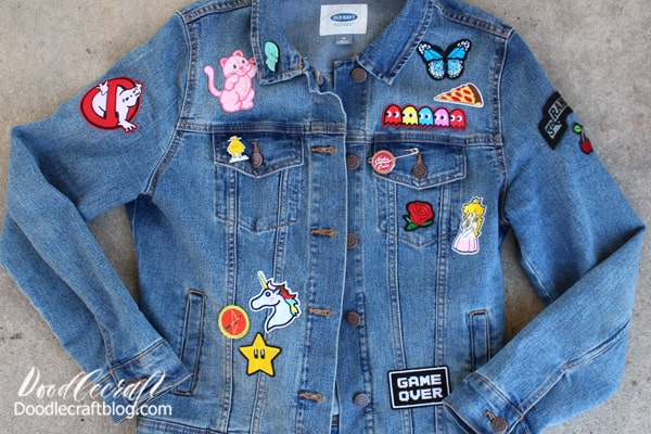 What patches will you put on your jean jacket?  This fun craft made me think about all my favorite characters, items, foods and more. What would I put on my jacket to represent me? I have a few things that symbolize my family too.