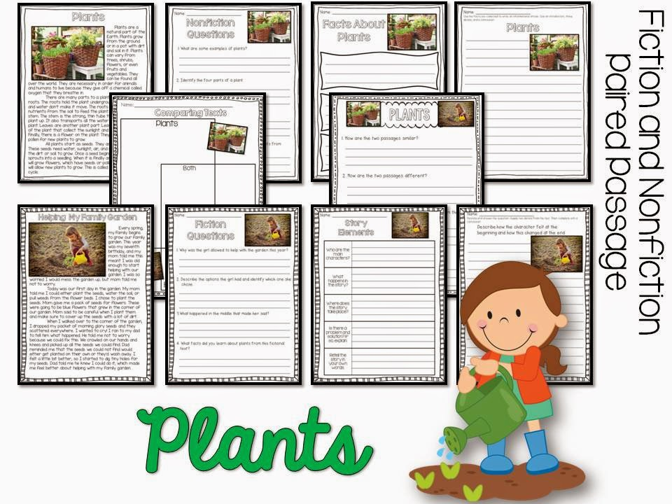 April Fiction and Nonfiction Paired Texts- all about plants