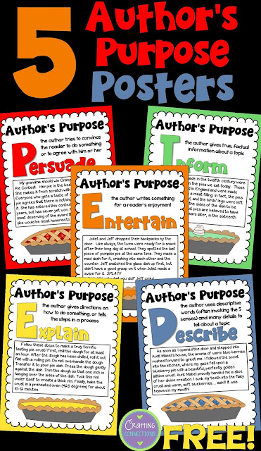 FREE Author's Purpose Posters! Have you increased the rigor in order to prepare your students for authors purpose test questions? This blog post also contains contains an author's purpose test prep freebie and many classroom ideas!