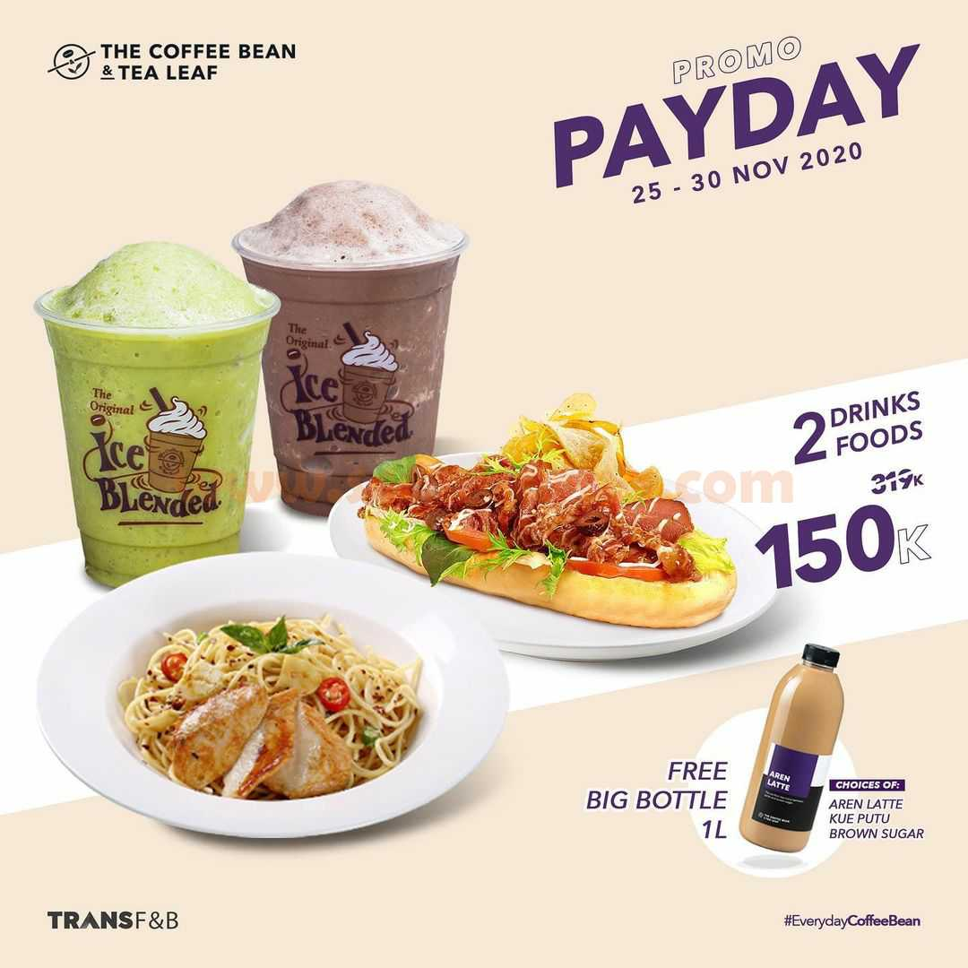The Coffee Bean Promo Payday: Beli 2 minuman + 2 makanan GRATIS 1 Big Bottle 1L