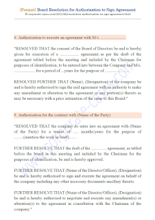 format of board resolution for authorisation to sign agreement